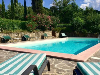 Photo for Atmospheric appartment with large, enclosed garden, pool and magnificent view