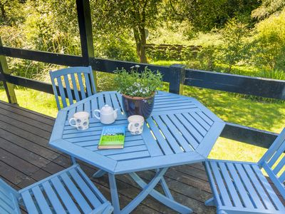 Photo for Cozy lodge, with garden & decking area, above Loch Eck in Argyll Forest Park.