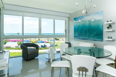 enjoy all the Blue inside and out in Aruba Beachfront apartment