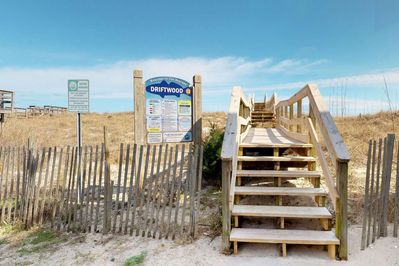Driftwood Beach access is very close, 250 feet from Sandy Cracks.  Can you feel the sand between your toes?