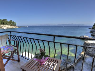 Photo for Romantic 1 Bedroom Cottage Above The Sea In The Sleepy Port Of Loggos On Paxos