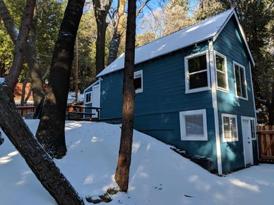 Photo for Newly renovated, serene cabin surrounded by trees, walking distance to town!