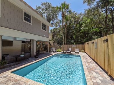 New Outdoor Space Surrounding Pool at 58 Dune Lane