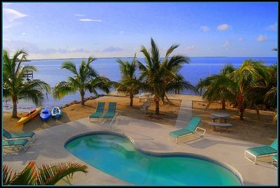 Oceanfront Swimming Pool Area   *** Kayaks and boat can be rented near by rental