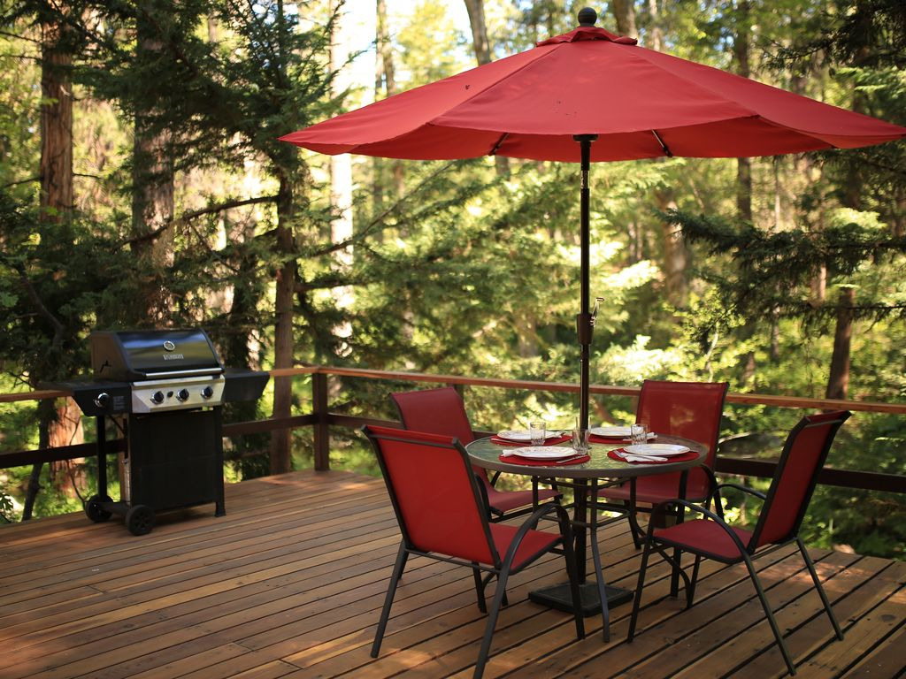 Deck Has A BBQ And Patio Seating, Perfect For Nice Weather.