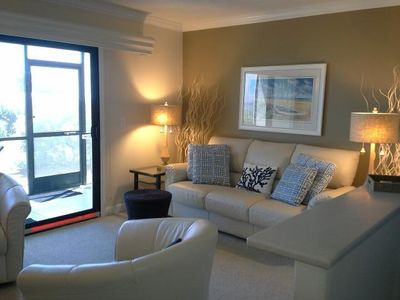 Calm, soothing interior reflects the sand and surf tones of your infamous view!