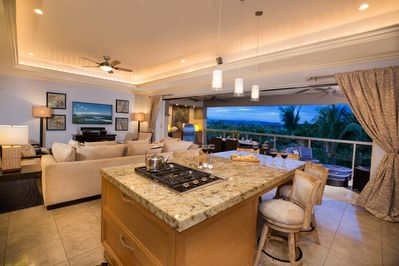 Lighting on dimmers, open floor plan and premium furnishings at Hoku at Ho'olei