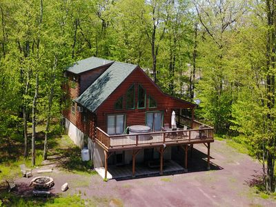 Photo for Log Cabin 6BR 3BA Hot Tub Pool Table Fire Pit Jacuzzi Arcade Game WIFI Sleeps 24