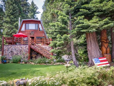 Photo for Bright log cabin surrounded by California pine w/ private hot tub