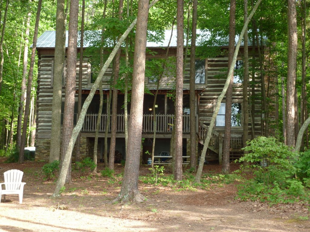 Lake side view of cabin gentle slope to waters edge