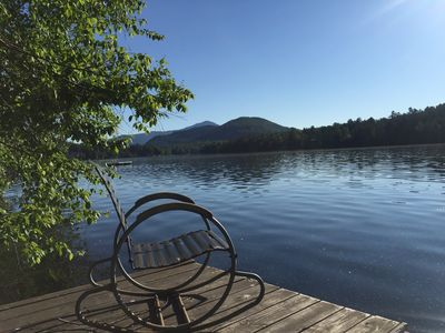 Private dock w/ views of Whiteface right on Mirror Lake!
