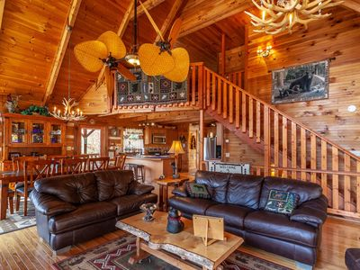 Photo for 3BR Pristine Mountain Cabin, Views, Pet Friendly, Pool Table, Hot Tub, & Firepit!