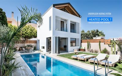 Photo for Fos Villa a Contemporary House with Private Sea Blue Heated Pool