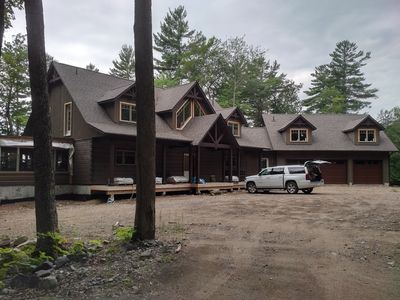 Photo for New Luxury Waterfront Log Home 7 Bedrooms, 90 Acres Woodland 600' waterfront