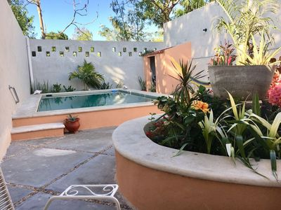 Rear garden with swimming pool