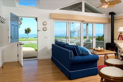 Ocean view from living room with patio doors closed.