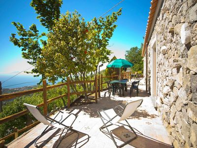 Photo for Private Sunny Terrace Chalet with sea views, air-con, parking for up to 6 people