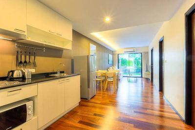 Kitchenette consists of microwave, cutlery and kitchenware