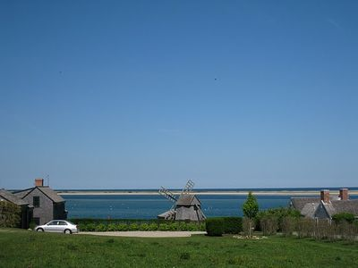 Long view from Shore Rd. to bay, barrier island, and open ocean in distance
