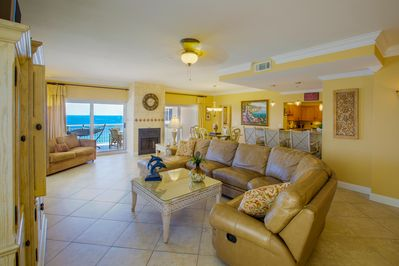 Spacious great room, direct access to huge balcony with direct Gulf views.