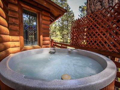 Photo for *FOREST TREEHOUSE~WALK TO LAKE LOG CABIN~Hot Tub~Gas BBQ~