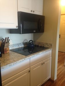 Kitchen with new convection oven and stove top