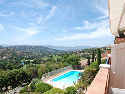Photo for Beautiful view over golf course and sea from a lovely apartment in Ste Maxime