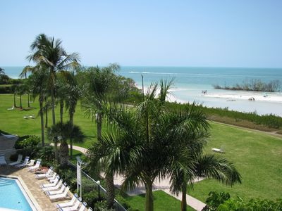 From the lanai you overlook the pool, luscious grounds and Gulf of Mexico.