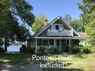 Photo for Thisisit Lakefront Cottage Includes 24' Pontoon Boat and Sandy Swimming!