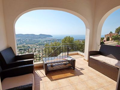 Photo for Beautiful Villa,with sea and hillside views, Private Pool,Air con  Wi-fi.