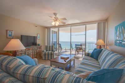 Living room and master bedroom have beautiful views of gulf!