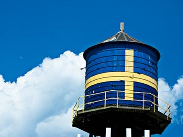 This watertower sits on top of the Swedish Museum,  Andersonville.
