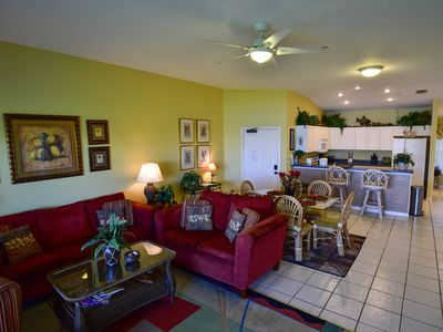 Living, dining room and kitchen area