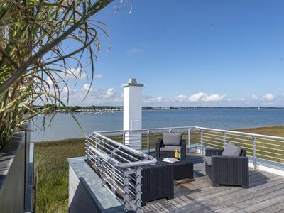 Photo for Holiday surrounded by water on Schlei and Baltic Sea - Three terraces - woodburning stove - larger sauna - Phenomenal roof terrace - Modern furnishings