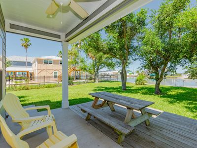 Covered patio area with gorgeous canal views