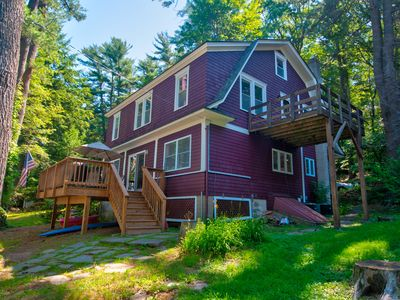 Photo for LEVEL Lake Wallenpaupack Lakefront-3 Bedroom +Den, Dock, A/C,WiFi-Sleeps 12