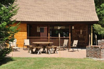 Brick patio with charcoal & gas grills plus fireplace for evenings & marshmallow