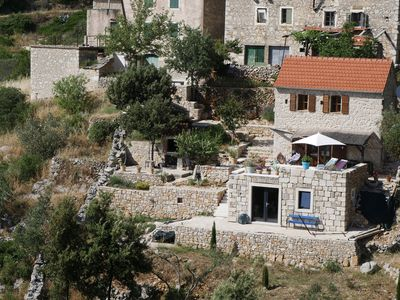 Photo for Comfortable stone house, luxurious terrace, panoramic sea view, hiking trails, peace