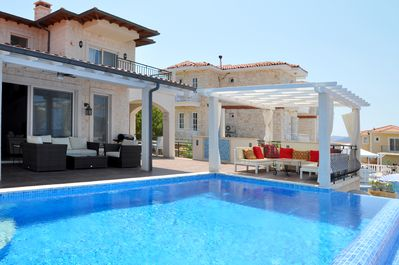 Outdoor terrace by the pool