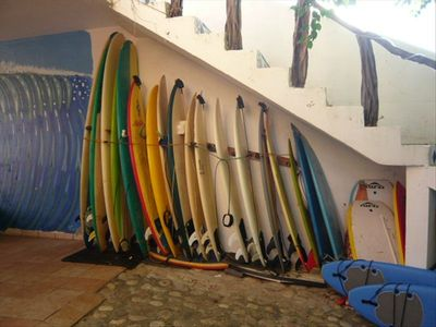 Surfboards available for rent. Try a different board every day if you like!