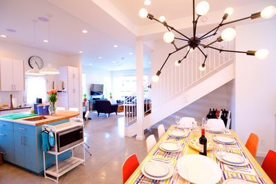 Ample place settings, stemware for large groups. Wide open floor plan.