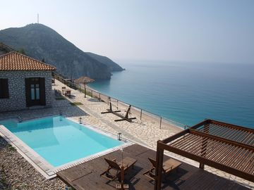 MILOS BAY VILLAS -Beachfront luxury villa with private pool and stunning view - Traditional Stone Villa 55491- 3 Double bedrooms bed, 2 Bathrooms