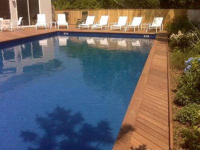 Photo for Hamptons Designer Beach Home, Large Pool, 1 Block From Private Ocean Beach