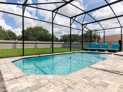 Spectacular Private Pool Home! Water Park, Game Room, Zero Entry HEATED Pool, Short Drive to All Theme Parks!