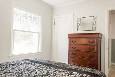 Plenty of space in your private bedroom to set-up things up the way you like it.  Dresser, closet, end tables with reading lamp.