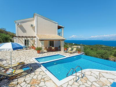 Photo for Villa with Ionian Sea views + infinity pool, 10 min drive to beach and resort