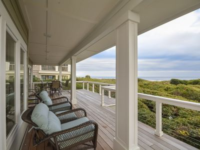 Main floor deck with golf course and ocean views