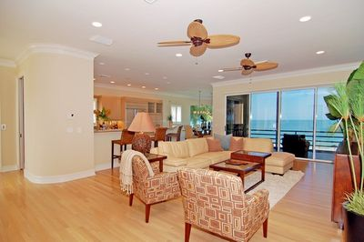 Living Room on the Main Level with views of the Gulf of Mexico and beach.