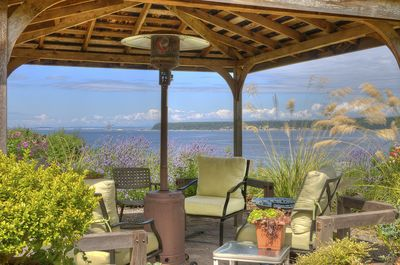 Relax in the gazebo with propane heater