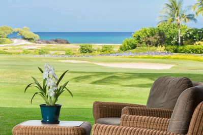 Lanai overlooking 18th Fairway and ocean beyond.